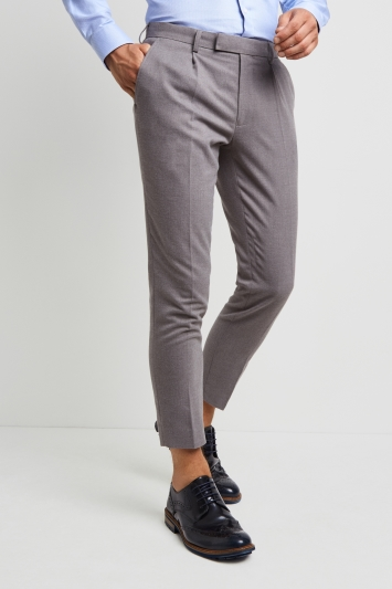 Moss London Slim Fit Light Grey Flannel Single Pleat Front Cropped Trousers