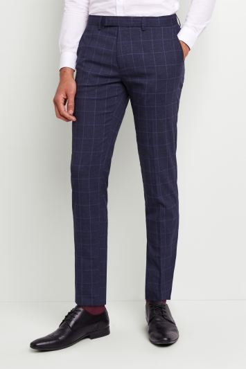 Moss London Skinny Fit Blue Boucle Windowpane Trousers with Stretch