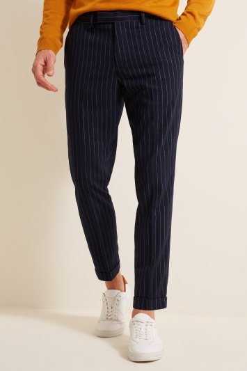 Moss London Skinny Fit Navy Brushed Chalk Stripe Cropped Trousers with Stretch