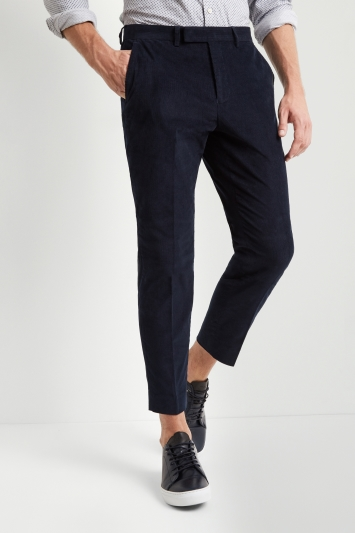 Moss London Tapered Leg Ink Blue Corduroy Cropped Trousers