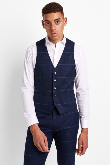 Moss London Skinny Fit Large Blue Check Waistcoat