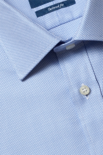 Moss 1851 Tailored Fit Sky Single Cuff Egyptian Cotton Textured Shirt