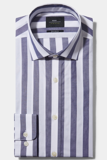Shirts & Tops Moss London Skinny Fit Navy Single Cuff Stripe Collar Shirt Size 16.5 Rrp£32.50 Men's Clothing