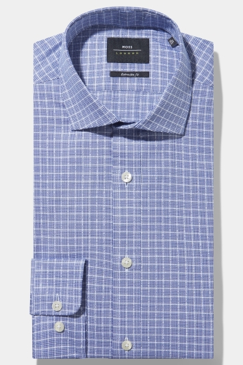Moss London Premium Extra Slim Fit Single Cuff Blue Boucle Check Shirt in Italian Fabric