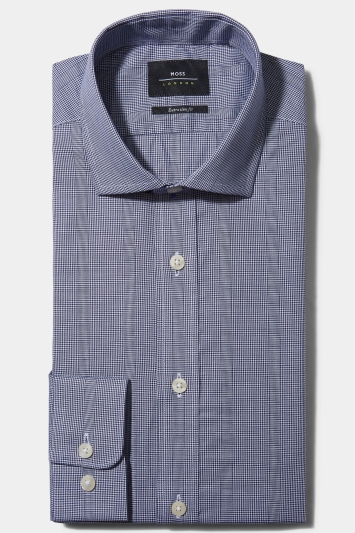 Moss London Premium Extra Slim Fit Single Cuff Navy Puppytooth Wide Stripe Shirt