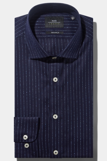04581ebab47 Moss London Premium Extra Slim Fit Single Cuff Navy Boucle Stripe Shirt in Italian  Fabric
