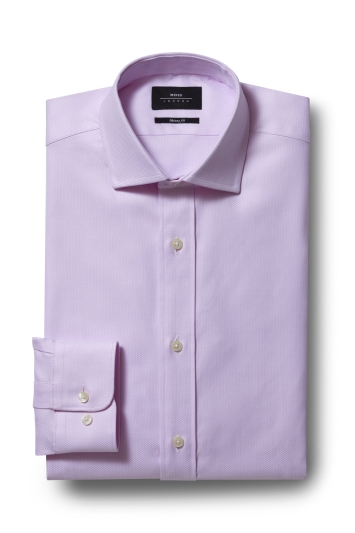 Moss London Premium Skinny Fit Single Cuff Pink Egyptian Cotton Textured Shirt