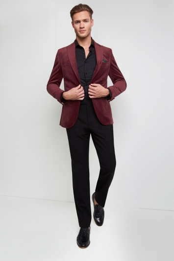 Moss London Skinny Fit Rustic Red Velvet Dress Jacket