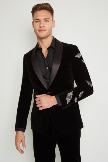 Moss London Skinny Fit Black Velvet Moth Dress Jacket