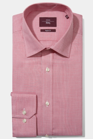 Moss Esq. Regular Fit Pink Single Cuff Square Dobby Non Iron Shirt