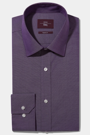Moss Esq. Regular Fit Purple Single Cuff Oxford Non Iron Shirt