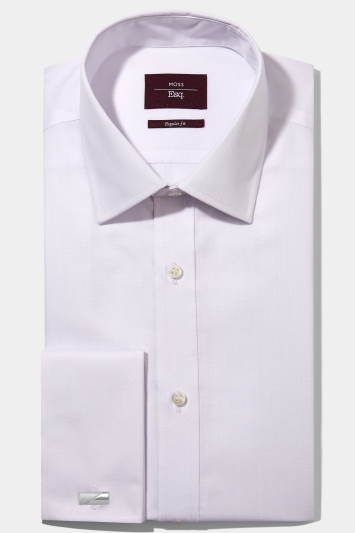 Moss Esq. Regular Fit White Double Cuff Stripe Non Iron Shirt