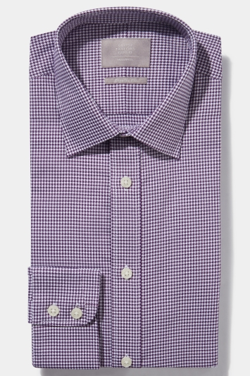 Savoy Taylors Guild Regular Fit Purple Single Cuff Houndstooth Shirt