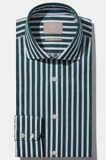 Savoy Taylors Guild Regular Fit Green Single Cuff Bengal Stripe Shirt