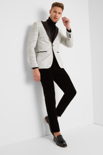 Moss London Skinny Fit White Slub Jacket