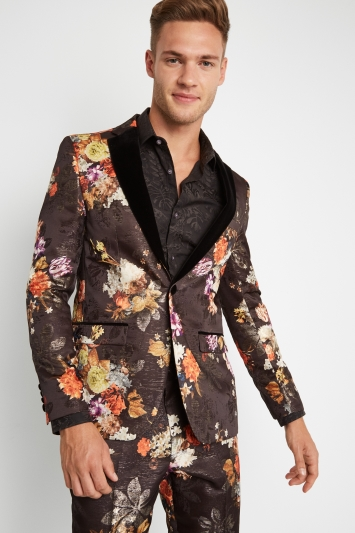 Moss London Skinny Fit Black Orange Floral Jacket