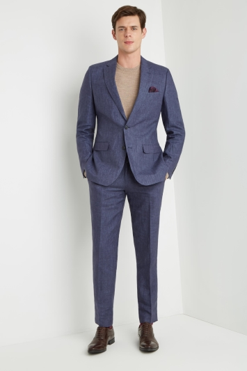 cfcb84ec0c85 Moss 1851 Tailored Fit Indigo Linen Suit