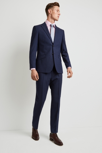 Hardy Amies Tailored Fit Blue Hopsack Jacket