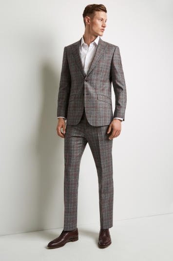 Hardy Amies Tailored Fit Black and White with Red Check Jacket