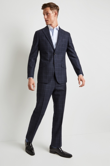 Hardy Amies Tailored Fit Blue Windowpane Jacket