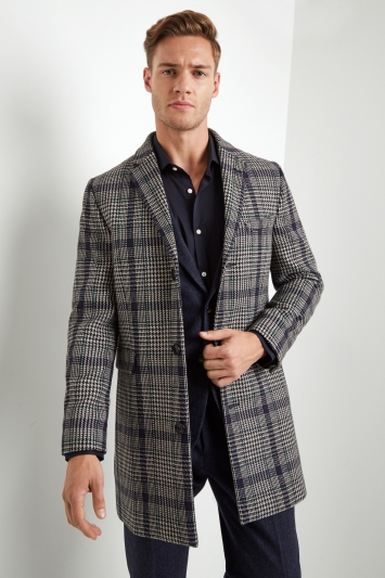 Moss London Slim Fit Bold Check Overcoat