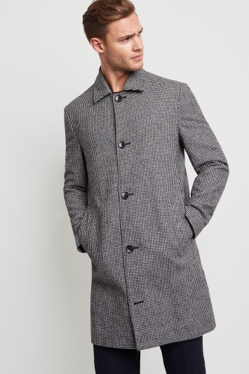 Moss London Slim Fit Puppytooth Car Coat
