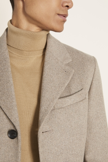 Moss London Slim Fit Oatmeal Overcoat