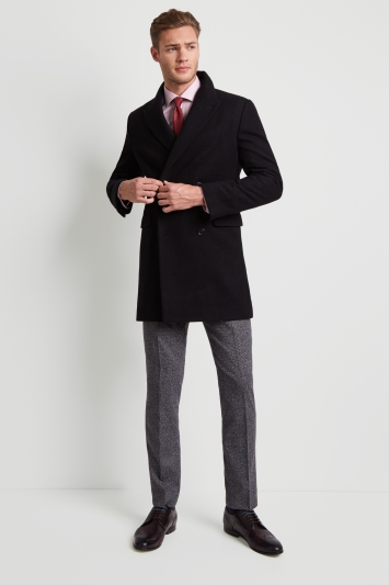 Moss London Slim Fit Black Double Breasted Overcoat