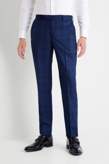 408417f3e Moss 1851 Tailored Fit Mouline Blue Check Trousers