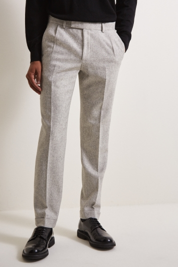 Moss London Skinny Fit Stone Flannel Pleated Trousers