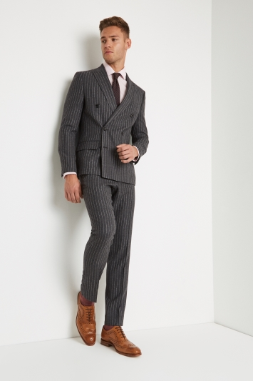 Moss London Skinny Fit Grey Crepe Stripe Double Breasted Jacket