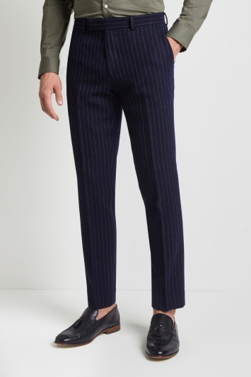 Moss London Skinny Fit Navy Crepe Stripe Trousers