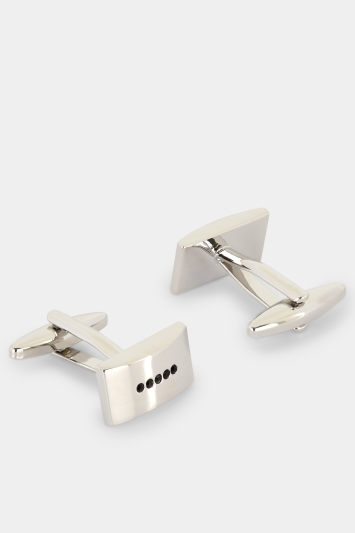Moss London Silver with Black Diamantes Rectangle Cufflink