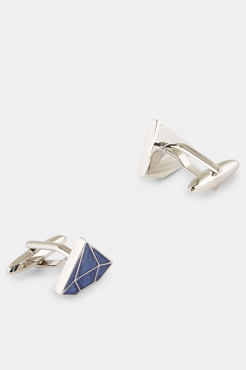 Moss London Navy Marble Diamond Shape Cufflink