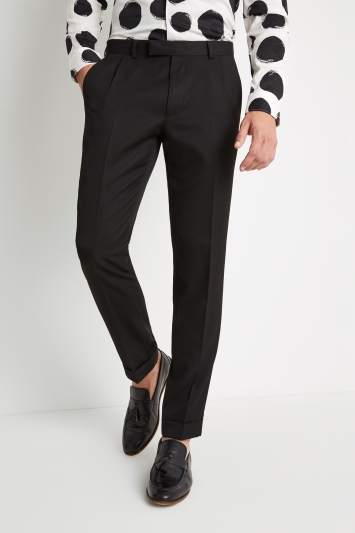 Moss London Skinny Fit Black Pleated Trousers