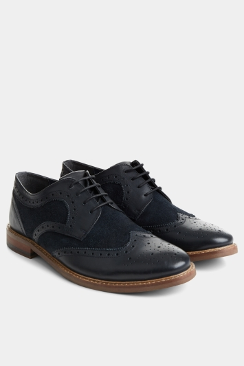 Moss London Henley Navy Tonal Suede Brogue
