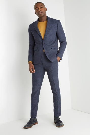 Moss London Skinny Fit Blue Puppytooth Jacket