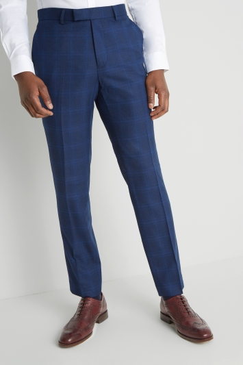Moss London Skinny Fit Mouline Blue Check Trousers