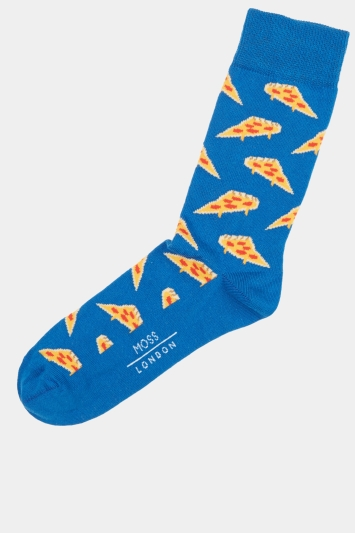 Moss London Cobalt Pizza Socks