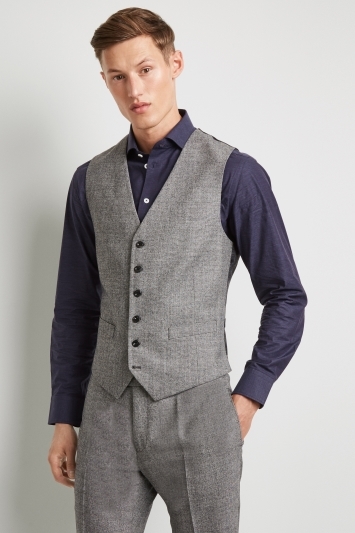 Hardy Amies Tailored Fit Black and White Texture Waistcoat
