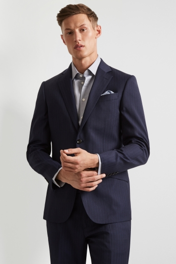 Hardy Amies Tailored Fit Navy Stripe Jacket