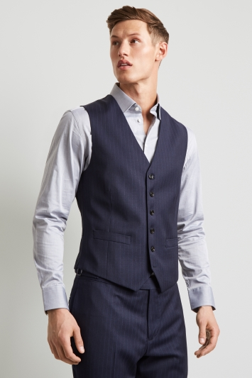 Hardy Amies Tailored Fit Navy Stripe Waistcoat