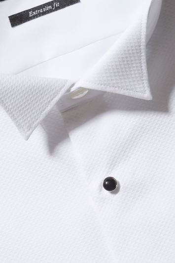 Moss London Premium Extra Slim Fit White Marcella Wing Collar Dress Shirt
