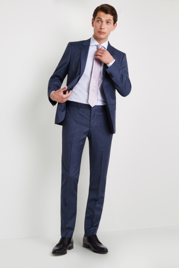 HUGO by Hugo Boss Tailored Fit Mid Blue Semi Plain Blend Jacket
