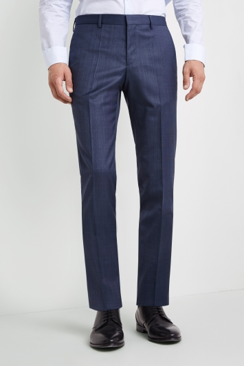 HUGO by Hugo Boss Tailored Fit Mid Blue Semi Plain Blend Trousers
