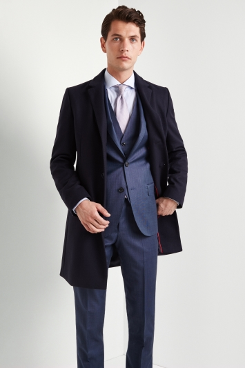 HUGO by Hugo Boss Tailored Fit Navy Migor Overcoat