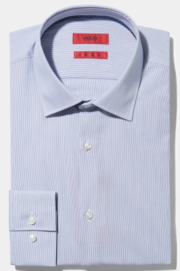 HUGO by Hugo Boss Slim Fit Navy Hairline Stripe with Contrast Trim Shirt