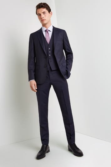 HUGO by Hugo Boss Tailored Fit Navy Micro Jacket