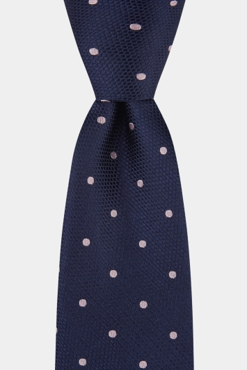 Moss 1851 Navy with Pink Spot Tie