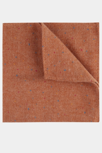 Moss London Burnt Orange Speckled Cotton-Linen Pocket Square